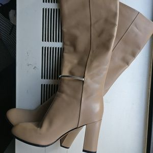 Knee High Heel Nude Tan Beige Boots Silver Accent